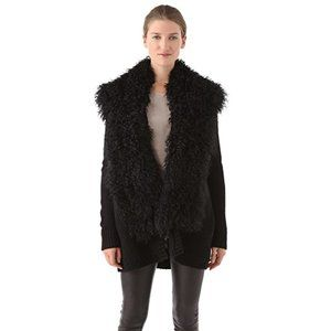 Vince Wool Cardigan with Shaggy Shearling Trim